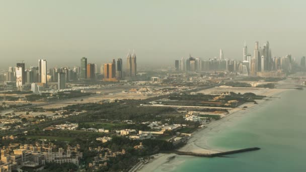 Dubai Marina Skyline at morning from Burj Al Arab. United Arab Emirates timelapse