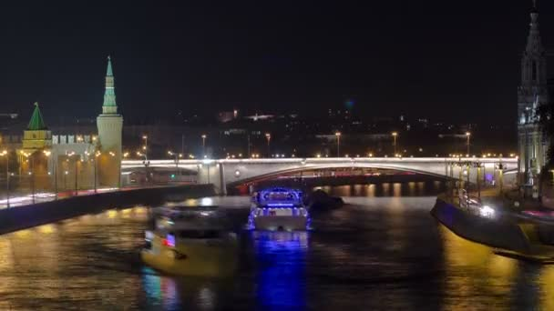 MOSCOW, RUSSIA - JULY 2014: View from the bridge on Moscow Kremlin andthe embankment of the Moscow river timelapse