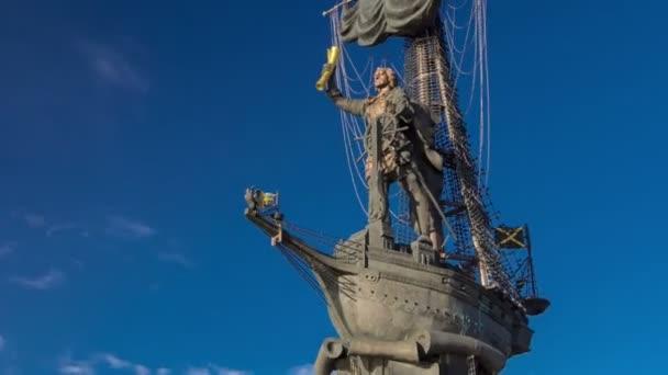 pomník ruského císaře Peter velký timelapse hyperlapse, Moskva, Rusko