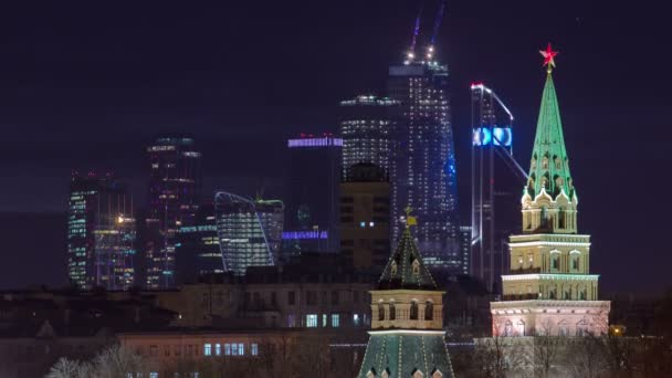 Moscow Kremlin and Moscow-City business center at a winter night timelapse