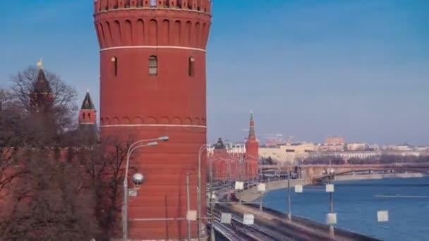 Kremlin embankment - Moskva River embankment near Kremlin. winter timelapse hyperlapse