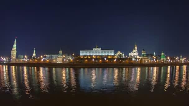 Kremlin embankment - Moskva River embankment near Kremlin. winter timelapse fisheye