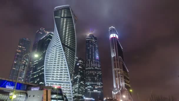 Skyscrapers International Business Center City night timelapse hyperlapse, Moscow, Russia