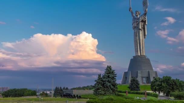Mother Motherland monument - part of Museum of the Great Patriotic War timelapse in Kiev, Ukraine