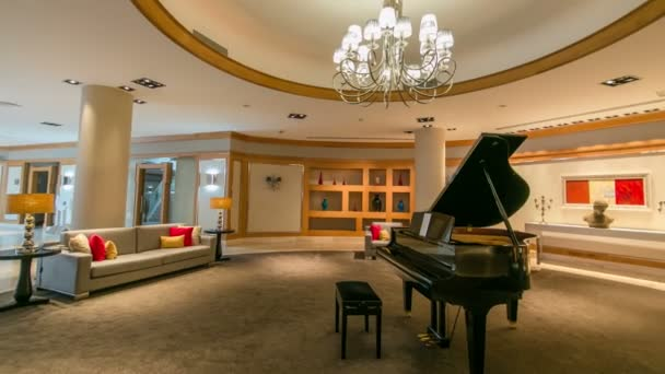 Grand piano in a luxury interior timelapse hyperlapse
