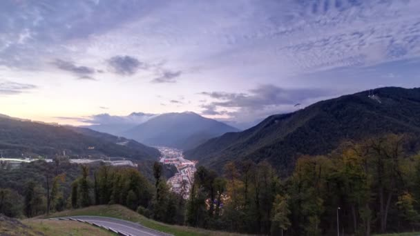 Autumn in High Mountains after sunset. Sochi, Russia. Krasnaya Polyana timelapse