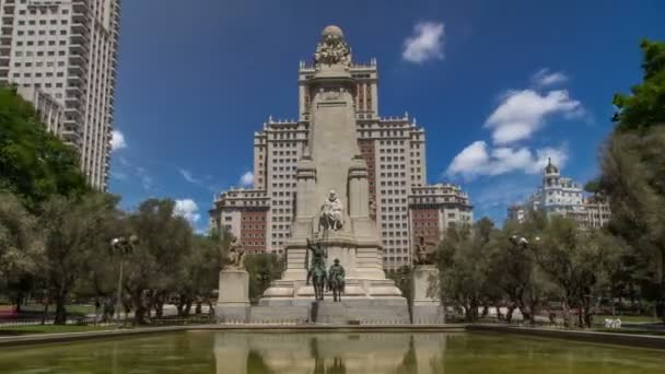 View of the stone sculpture of Miguel de Cervantes timelapse hyperlapse and bronze sculptures of Don Quixote and Sancho Panza on the Square of Spain
