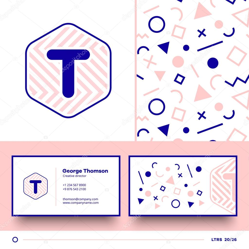 Element Logo Lettre T Avec Modle Sans Couture Et Carte De Visite Image Vectorielle