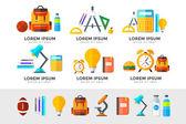 Vektorové ikony nastavit vzdělávání. V ploché styl na střední škole objektu