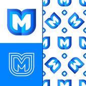 Fotografia Elemento di logo di lettera M con reticolo senza giunte