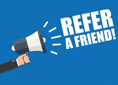 Refer a Friend on blue