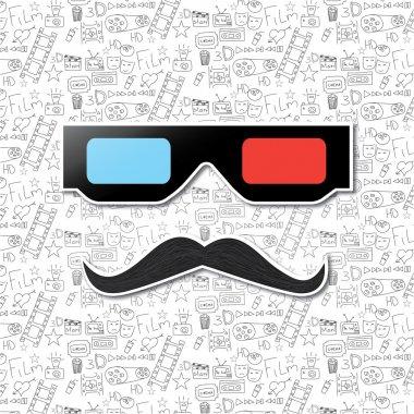 Mustache and cinema glasses.