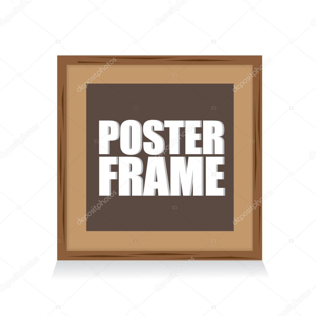 plantilla de maqueta cartel con marco de madera cuadrado — Vector de ...