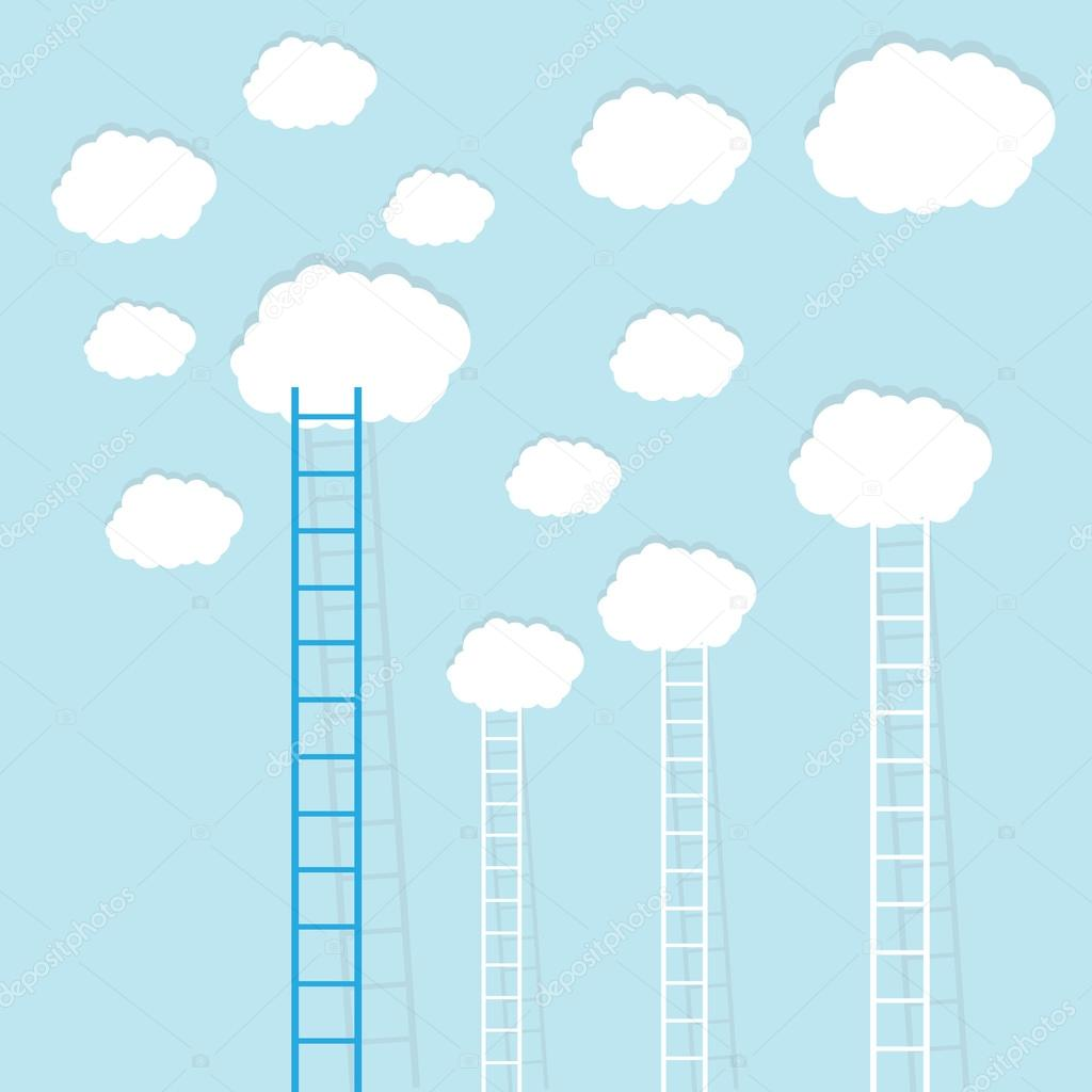 Ladders to clouds on blue sky