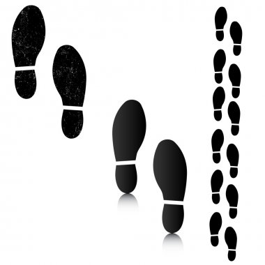 Man footsteps silhouettes