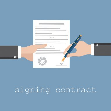 Hand signing contract or document