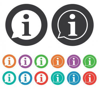Vector illustration of Information icons set, white background stock vector