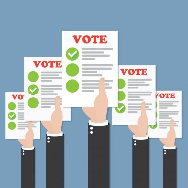 Hands with vote ballots