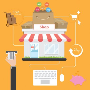 "Картина, постер, плакат, фотообои ""Интернет-магазины. Плоский стиль. Экономия на покупки через Интернет"", артикул 67072307"