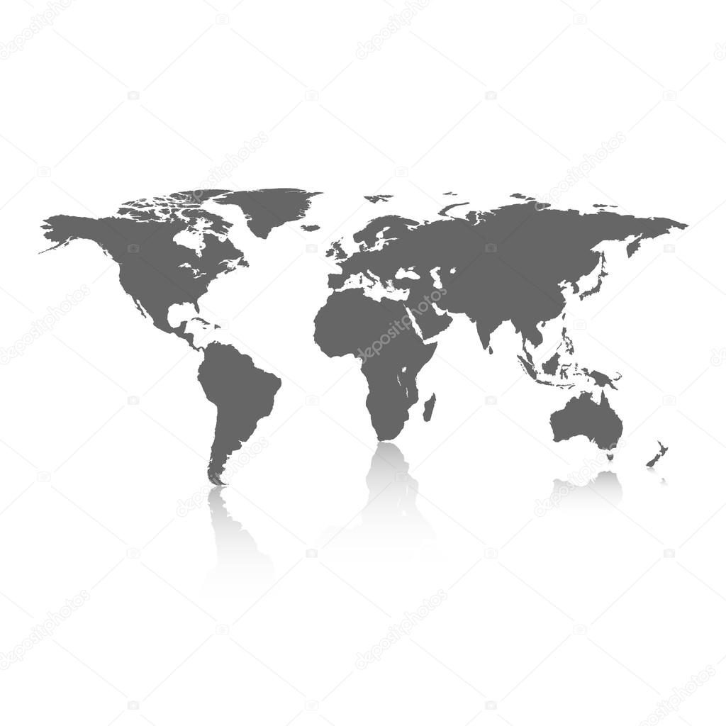 World map on white