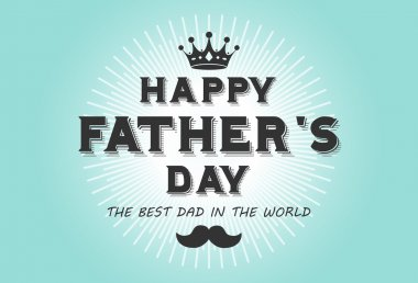 Happy fathers day card vintage retro type font clip art vector