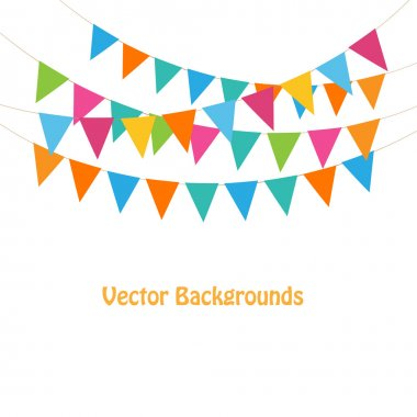 Bunting and garlands on white
