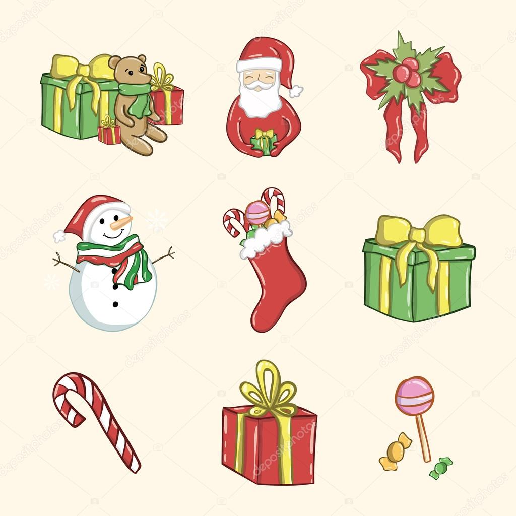 Christmas Sketches.Set Of Colorful Merry Christmas Sketches Stock Vector