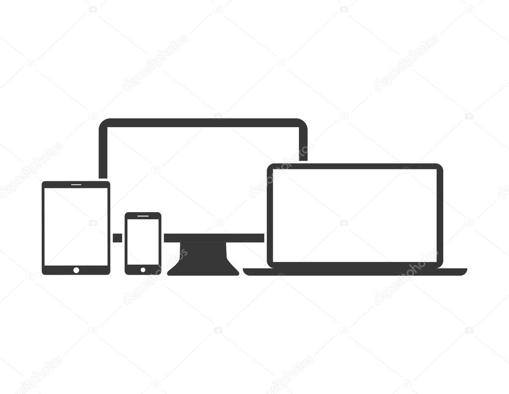 Flat design devices icons