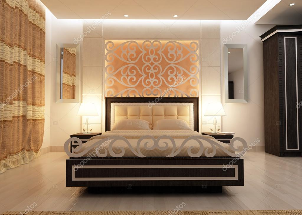 Interior design of big modern bedroom in artificial - Illuminazione camera matrimoniale ...