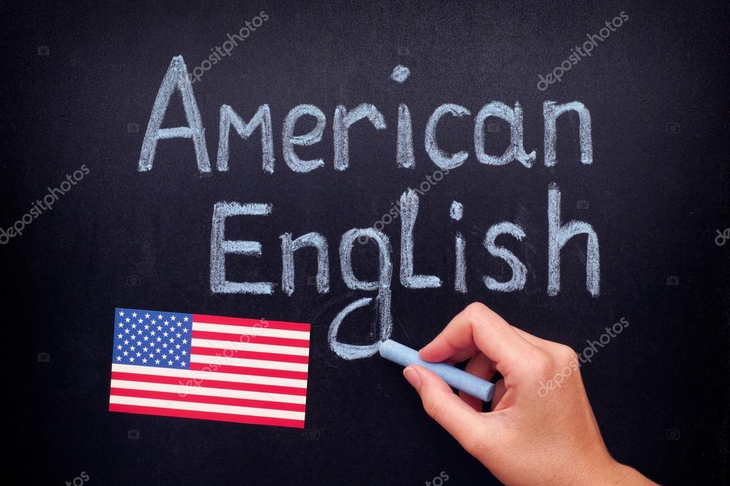 Hand Tekenen Van Amerikaans Engels Op Blackboard Stockfoto