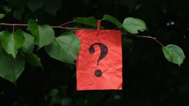 Červený papírový vzkaz s otazníkem zavěšeným na roztřesené větvi stromu s kolíkem na prádlo.