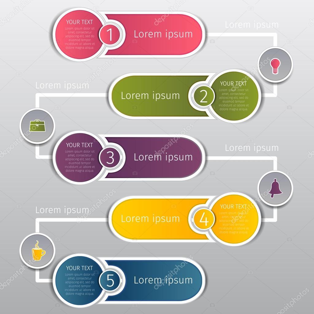 Rondas de colorear banners de web gráfica de información con números ...
