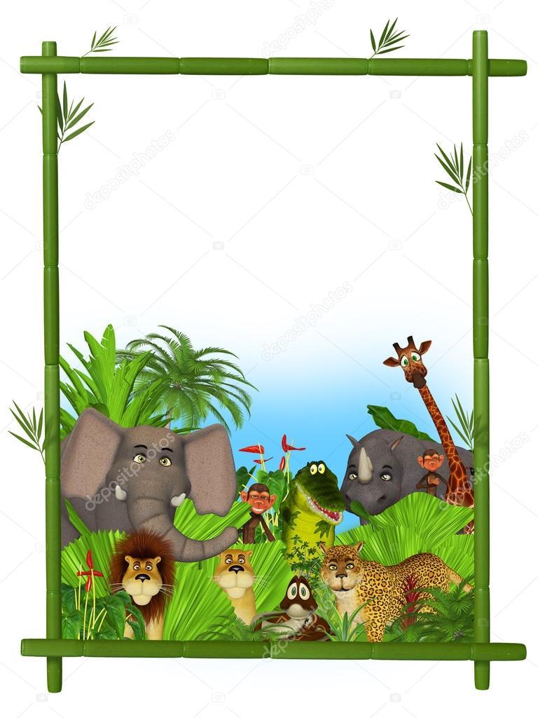 Marco de animales salvajes dibujos animados — Foto de stock ...