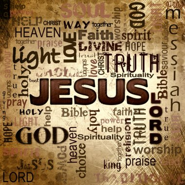 Jesus word cloud, grunge background