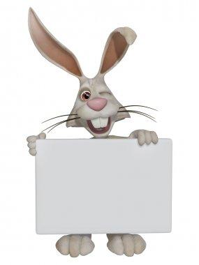 "Картина, постер, плакат, фотообои ""пасхальный кролик с пустым знаком "", артикул 64995297"