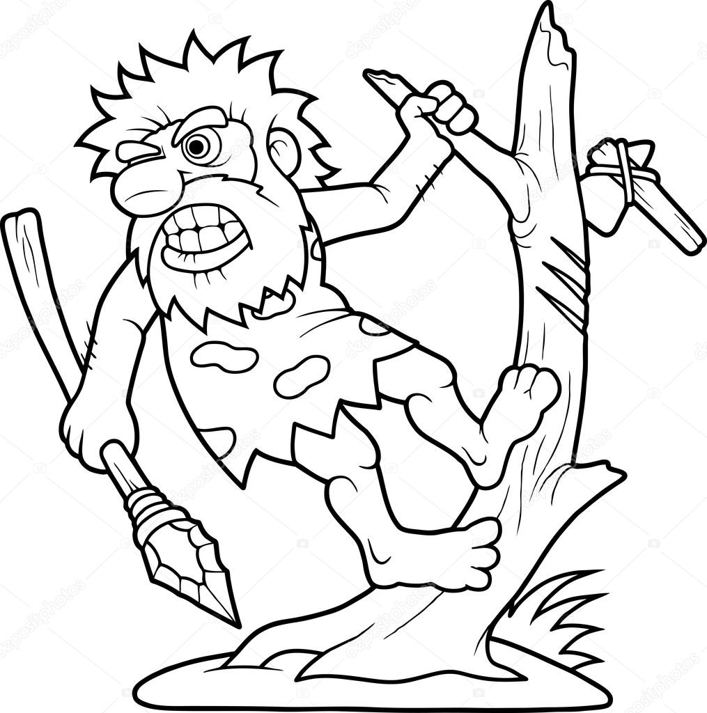 Hombre De Las Cavernas Preparando Para Luchar Contra