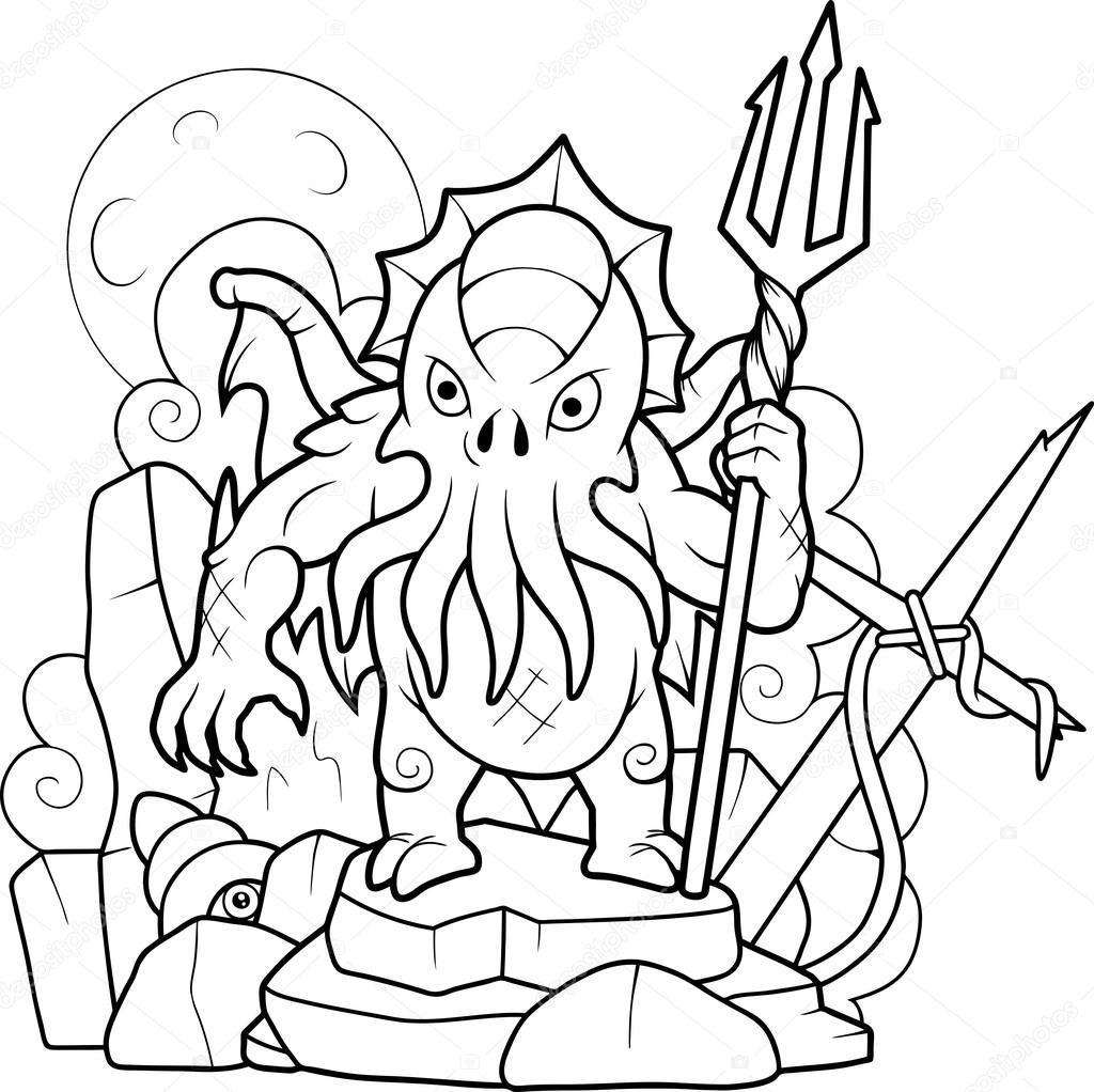 Cthulhu with a trident in his hand — Stock Vector © Fargon #119470100