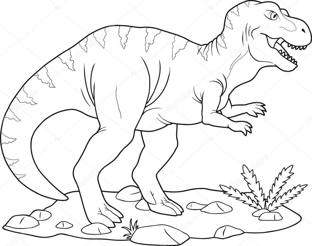 Animado: tiranosaurio rex colorear   Tiranosaurio — Vector de