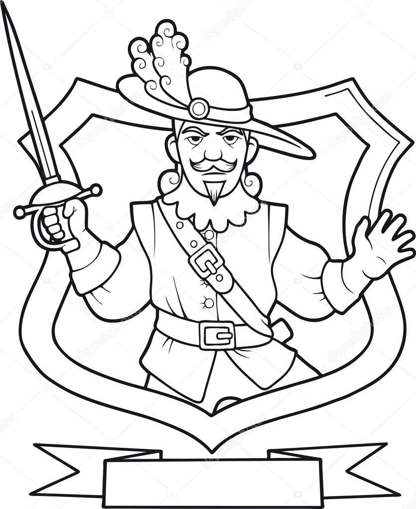 tapfere Musketier mit Schwert — Stockvektor © Fargon #87032524