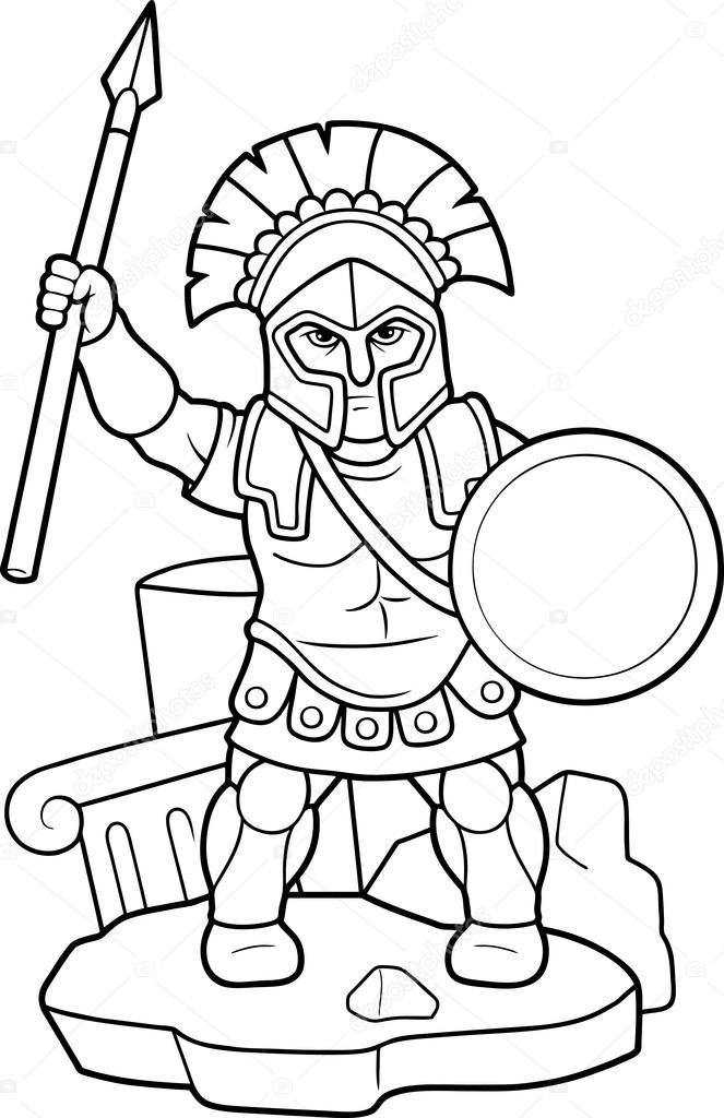 Imágenes: espartanos para colorear | Lanza espartano en su mano ...