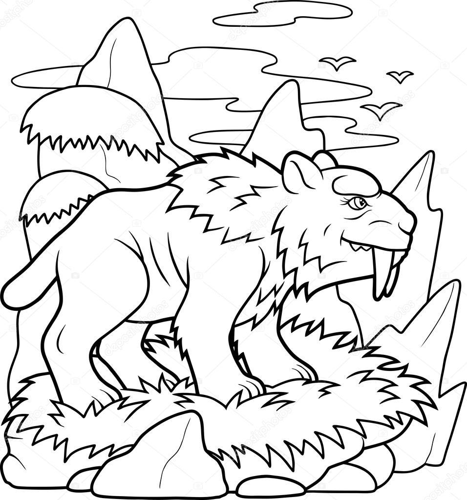 tigre dientes de sable se está preparando para la caza — Archivo ...