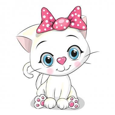 Cute Cartoon white kitten