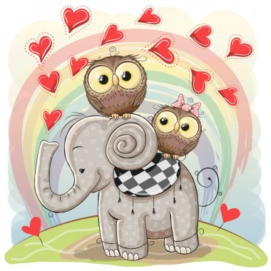 Cute Cartoon Elephant and Two Owls