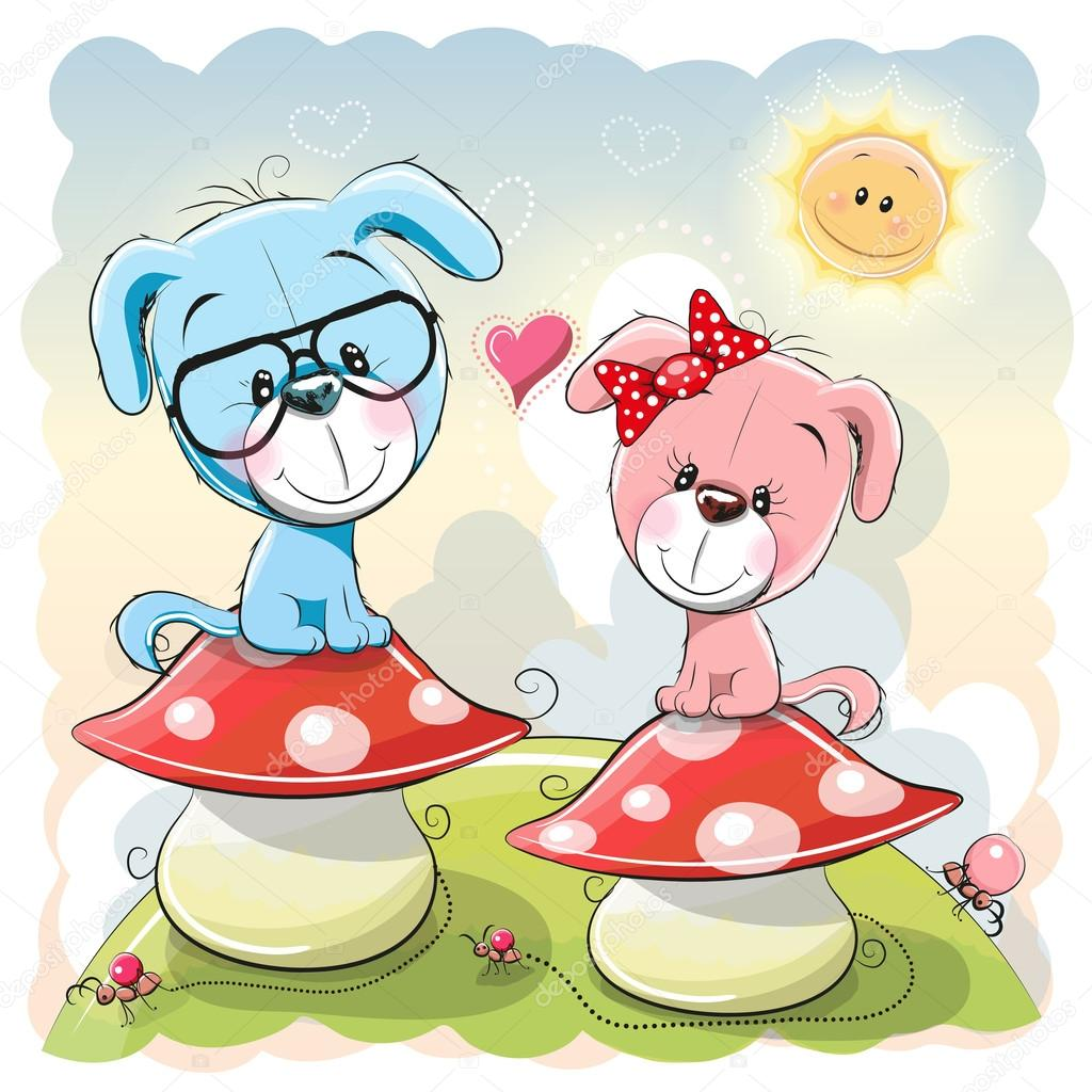 dois filhotes de cachorro dos desenhos animados vetores de stock