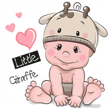 Cute Cartoon Baby boy in a Giraffe hat