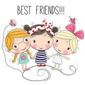 Tři roztomilé kreslené dívky