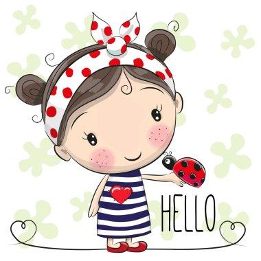 Cute Cartoon Girl with a bow and ladybug stock vector