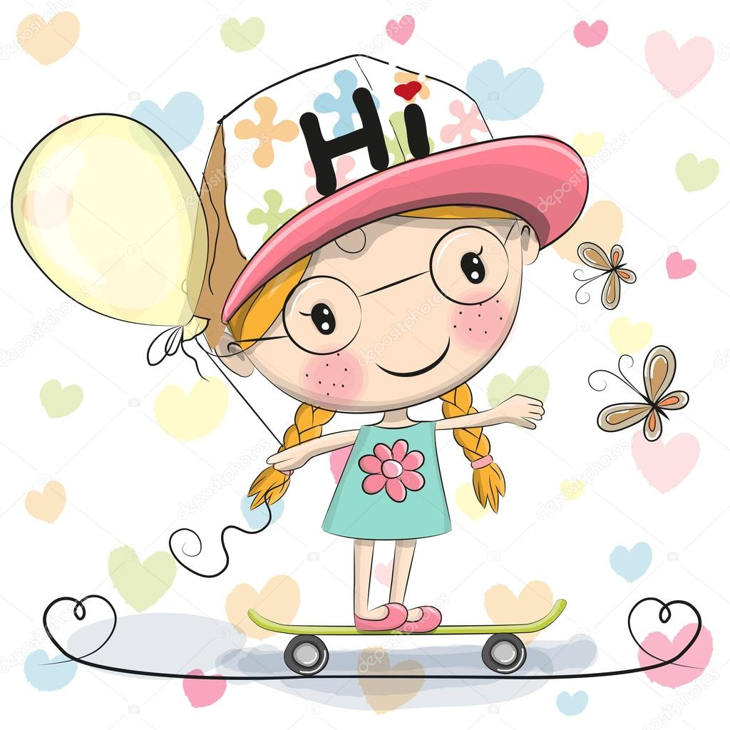 Stock Illustration Cute Cartoon Girl With Balloon