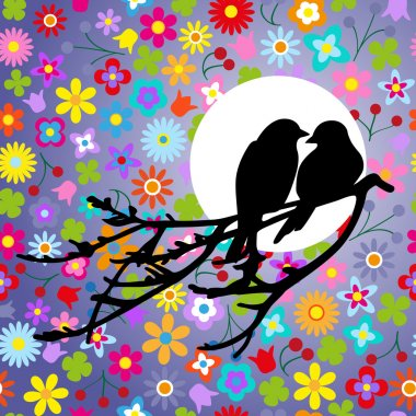 Two birds is sitting on a branch clip art vector
