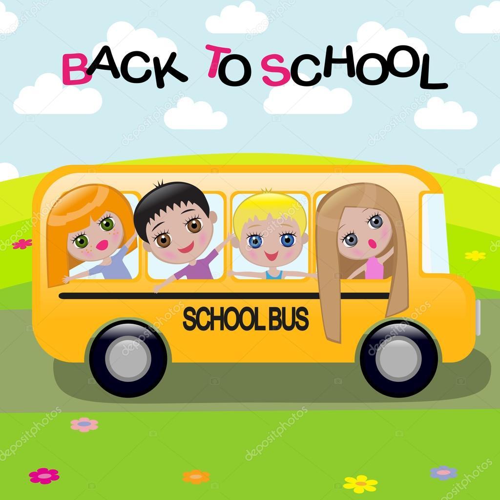 Un autobus scolaire de dessin anim image vectorielle - Autobus scolaire dessin ...